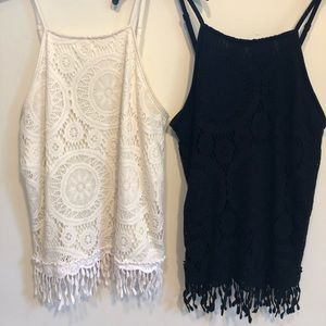 Black and White halter tank top set